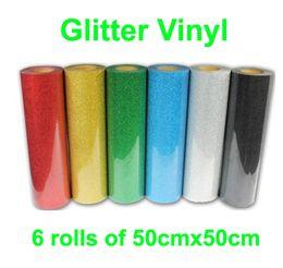 Wholesale Fast HOT DISCOUNT rolls quot x20 quot cmx50cm PET Glitter vinyl for heat transfer heat press cutting plotter