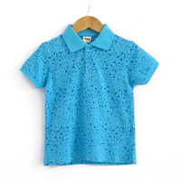 Boy Summer Children 2013 Summer children's clothing cool Sky Blue boy child short-sleeve T-shirt 100% cotton child turn-down collar tee
