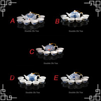 Wholesale Chinese Blue And White Ceramic Kungfu Tea Set Porcelain Teapot Bone China Tea Cup Patterns For Choices