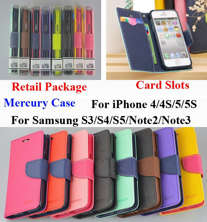 Buy Mercury Wallet PU Flip Leather Stand Case Card Slot iPhone 4 5 6 Plus Samsung Galaxy S3 S4 S5 S6 Edge E5 E7 Note 2 3 Note4 Retail Box