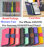 Wholesale Mercury Wallet PU Flip Leather Stand Case Card Slot For iPhone Plus Samsung Galaxy S3 S4 S5 i9600 Note With Retail Package