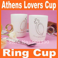 Wholesale Athens lovers ring cup love mug water drink cup Cups Saucers ceramic