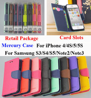 For Apple iPhone Leather  Mercury Wallet PU Flip Leather Case Card Slot For iPhone 4 4S 5 5S Samsung Galaxy S2 S3 S4 S5 Mini Note 2 3 Trend Duos S7562 M7 G2