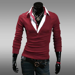 Wholesale 2014 new arrive Spring casual long sleeve men s t shirts solid men s t shirts polo shirts
