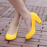 Wholesale Spring Lemon Yellow OL Princess Single Shoes Women s Thick Heel Round Toe High heeled Shoes Small Yards Plus Size Women s