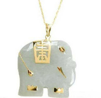 Pendant Necklaces Asian & East Indian Women's Natural Light Green Jade 18KGP Elephant Pendant & Necklace