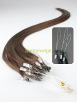 Wholesale 18 quot Remy Cuticle Loop Micro Ring Human Hair Extensions g Chocolate Brown Custom Made