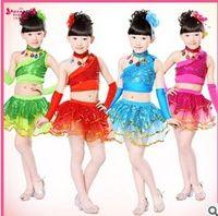 New Latin dance costumes sequin mesh one shoulder ballet tut...