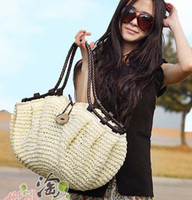 Wholesale Hot Sale new women coconut handbag crocheted straw handbags woven bag beach bag
