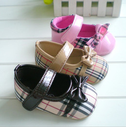 Wholesale Baby First Walker Shoes girls Soft bottom non slip Princess plaid bow shoes