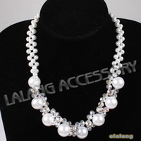 Wholesale 1 string Shiny Pearl Faceted Beads Women Necklace Glass Beads Chian Necklace For Cocktail Wear cm