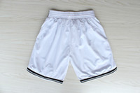 Wholesale Top Quality Revolution Swingman Men s Basketball Shorts Brooklyn Shorts White Black Embroidery Logo Mix Order