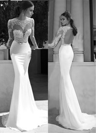 Wholesale New Sheer Wedding Dresses Berta Winter Illusion Bateau Round Back Applique Gold Belt Sweep Train Mermaid Wedding Bridal Gowns Dress