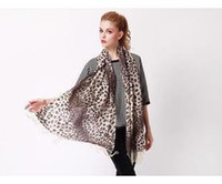 Wholesale Lady Sexy Women Gray Tassel Leopard Print Long Scarf Wrap Shawl Cashmere