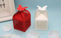 Wholesale New hot sale Small gift boxes Red White Creative Personalized European Hollow Butterfly Candy Box Wedding Favour Boxes Paper