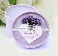 Wholesale Creative European Lavender Candy Box Wedding Favour Cylinder Boxes Paper