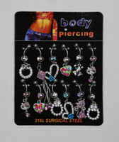 Wholesale Body Piercing JewelrySteel Belly Bar Navel Ring Body jewelry FreeShipping