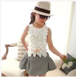 Wholesale Children s Lace Flower Tops Girl s Lace Plain Vest S0317