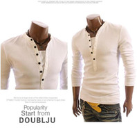 Wholesale 2014New Style Men Slim Buttons Spring T shirts Turn down Collar Casual Fashion Long Sleeve Shirts Colors Size