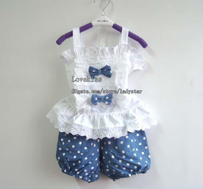 Buy Girls Clothing Children Set Kids Suit Outfits Summer Clothes Girl Shorts Tank Tops Baby T shirts Denim Dress