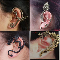 Clip-on & Screw Back Korean Women's 50%OFF!Hot wholesale! Retro dragon ear clip. Alloy snake earrings. 6-STYLE! Fashion jewelry. Cheap prom jewelry.sale 30pcs G