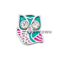 Wholesale 2014 new Design colorful owl floating charms DIY charms for necklace amp bracelets fashion charms accessories glass Locket charms