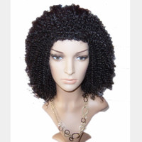 Wholesale top quality Afro culry lace Front wig indian remy human hair More Color Available DHL