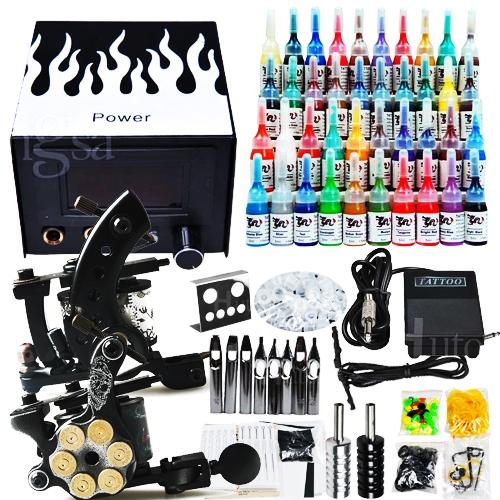 Professional complete cheap tattoo kits 2 guns machines 40 for Cheap tattoo ink