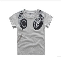 Wholesale 2014 Summer New Baby Boys Kids T shirt Short Sleeve Cool Big Headphone Printed Cartoon T shirt Yellow Grey Children Clothing F0082