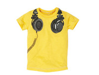 Wholesale Hot Sell New Baby Boys Kids T shirt Short Sleeve Cool Big Headphone Printed Cartoon T shirt Yellow Grey Children Toddler Clothing F0082