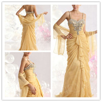 Wholesale Elegant A Line Spaghetti Beaded Sequins Pleated with Sheer Wrap Floor Length Party Evening Celebrity Red Carpet Dress