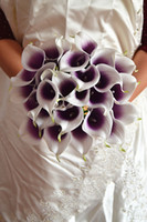 Wholesale Vintage Artificial Flowers pieces Mini Purple in White Calla Lily Bouquets for Bridal Wedding Bouquet Decoration Fake Flower