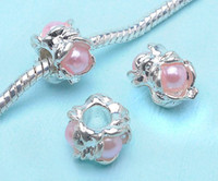 Wholesale New beads Inlay pink Pearl Side Fit Bracelet