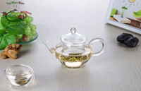 Wholesale Small fl oz ml Heat Resisting Clear Pyrex Glass Handicraft Flower Teapot Coffee Tea Pot Set Juice Kettle with handle and infuser and Lid