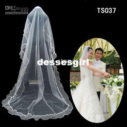 Wholesale Hot Sale Layers Floor Length Lace Edge White amp Ivory High Quality Long Tulle Wedding Veils