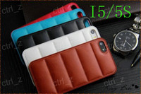 Wholesale For iphone S Hard Plastic Case Waves Grain Sofa Style Venneer PU Leather case Snap On PC Fashion cases Cover