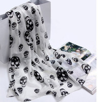 Wholesale Fashion Spring Autumn Silk Scarf Korean Style Skull Head Printing Chiffon Scarves