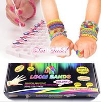 Charm Bracelets Unisex Plastic Hot Popular Rainbow Kits Rubber Loom Bands Kit DIY Bracelets Colorful Children Toy Gift 50set lot Free Shipping
