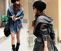 Wholesale Fashion Women tops Lady Denim Trench Coat Hoodie Hooded Outerwear Jean Jacket Cool