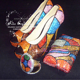 Wholesale ORANGE WEDDING SHOES NEW WOMENS HIGH HEELS SWAROVSKI SOME BLUE MULTI COLOR CRYSTAL SHOES UNIQUE DESIGN BRIDAL PHOTO with MATCH CLUTCH BAG