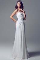 Wholesale 2014 Hot Sale New Arrival Blunarine Bridal Gowns Sweetheart Beads Pleats And Nylon Lace White Chiffon A Line Long Wedding Dresses