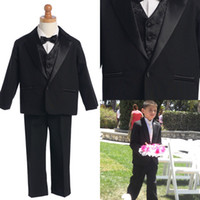Wholesale Custom Made Little Men Black One Buttons Suits Notch Lapel Boy s Kids Formal Occasion New Design Wedding Party Tuxedos DL1310956