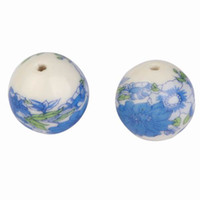 Professions, Hobbies ceramic beads flower - New Ceramic Loose Beads Blue Flower Design Round Shape For DIY Necklace Bracelet Pendants Making Jewelry Charms ASH87