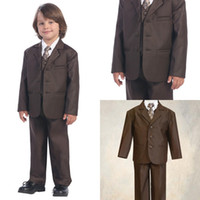Wholesale Brown Boys Kids Formal Occasion Three Buttons Straight Pockets Wedding Party Suit Tuxedo Jacket vest Pants EM00479