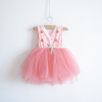 TuTu Summer tutu dress Hot sale Korean Baby Girls Kids Floral Tulle Tutu Princess Dress Sundress Children Clothing pink blue 3-10T 6pcs lot 0028-2