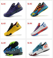Low Cut Men PU 2014 Drop Shipping Free Shipping Wholesale 24Color Famous KD VI 6 BHM PE Ice cream milk Men's Basketball Shoes Sneaker Trainers Shoes