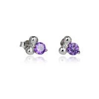 Stud Women's Sterling Silver Female 925 sterling silver small butterfly call small purple crystal together perfect accompaniment to show fashion.
