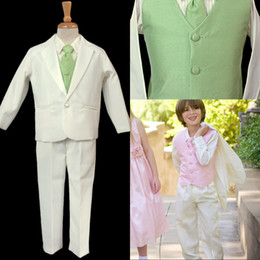 Wholesale The Flower Boy White and Green Dress Suit Children Show Fashion Show Children Take Suits EM00486