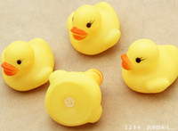 Plastic 0-12 Months Children's Day Baby Bath Water Toy toys Sounds Yellow Rubber Ducks Kids Bathe Children Swiming Beach Gifts 100pcs lot free shipping