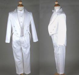Wholesale Custom Made Little Men White Suits Notch Lapel Boy s Formal Occasion Wedding Party Split Round Tail Tuxedos Jacket Pants DL1310966